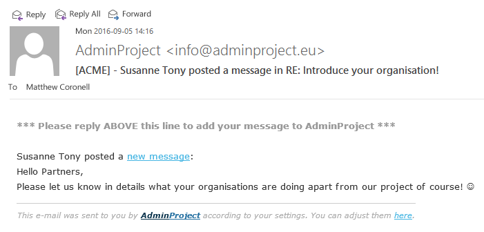AdminProject working through email